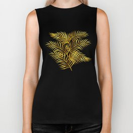 Palm Leaves_Gold and White Biker Tank