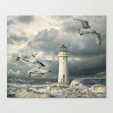 Gulls at Perch Rock Canvas Print