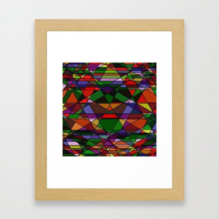 Stain Glass Mosaic Dark Framed Art Print