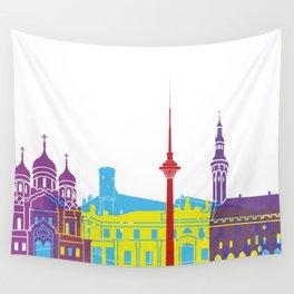 Tallinn skyline pop Wall Tapestry