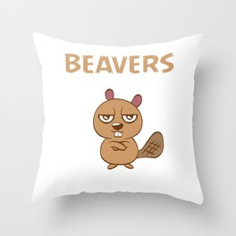 Beavers Love Wood Design Prepared For Digital Direct Printing Against A Transparent Background Throw Pillow