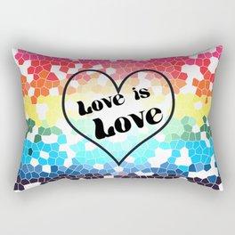 Love is Love Mosaic Pride Flag Design Rectangular Pillow