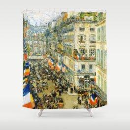 12,000pixel-500dpi - Frederick Childe Hassam - July Fourteenth, Rue Daunou - Digital Remaster Shower Curtain