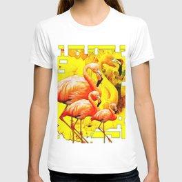 MODERN YELLOW ART DECO FLAMINGO  ART ABSTRACT T-shirt