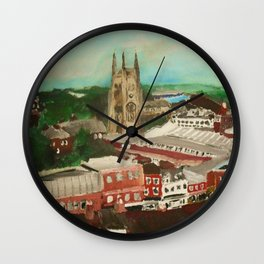 Tamworth, Staffordshire, England Impressionist Cityscape Fine Art Wall Clock