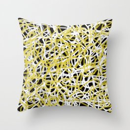 scrambled lines black, white and yellow Throw Pillow
