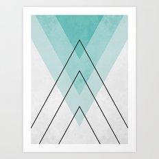Minimalist blue and black Art Print