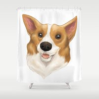 corgi Shower Curtains featuring Corgi by Alba Ferrari