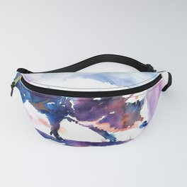 Warthog colorful watercolor painting Fanny Pack