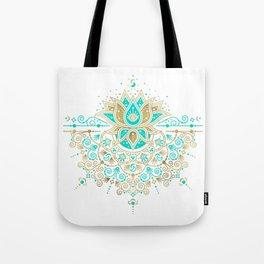 Sacred Lotus Mandala – Turquoise & Gold Palette Tote Bag