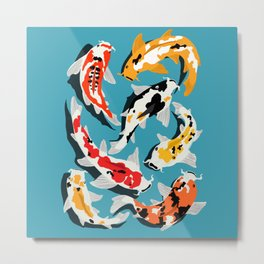 Colorful Koi Carps Swimming Around Metal Print