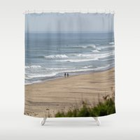 cape cod Shower Curtains featuring Cape Cod Beach by Heidi Ingram