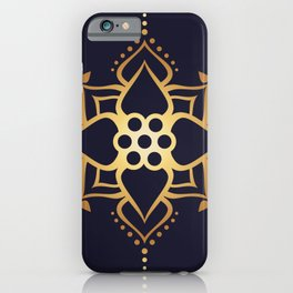 Indian Golden Lotus flower Mandala Pattern with Elegant Art Violet background iPhone Case