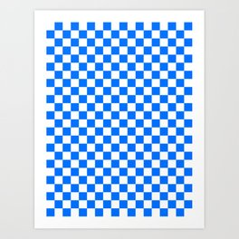 White and Brandeis Blue Checkerboard Art Print