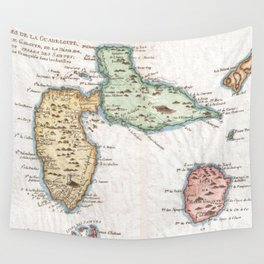 Vintage Map of Guadeloupe (1780) Wall Tapestry