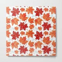 Autumn leaves against white Metal Print