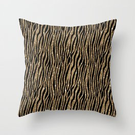 Black & Gold Glitter Animal Print Throw Pillow