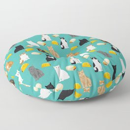 Cat breed tacos and burritos cute kitty lover pet gifts must have mexican food night Floor Pillow