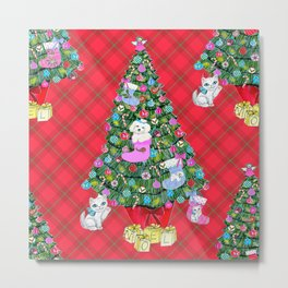 Bichon Frise red plaid cats christmas holiday themed pattern print pet friendly dog breed gifts Metal Print