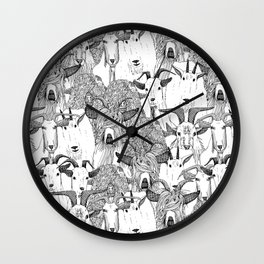 just goats black white Wall Clock