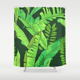 Green Jungle Tropical Leaves Pattern Shower Curtain