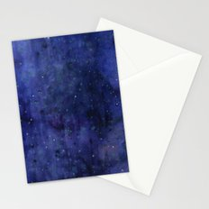 Galaxy Watercolor Nebula Texture Night Sky Stars Stationery Cards