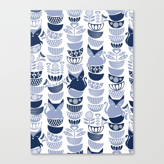 Swedish Folk Cats III White Background Pale And Navy Blue Kitties Bowls Canvas