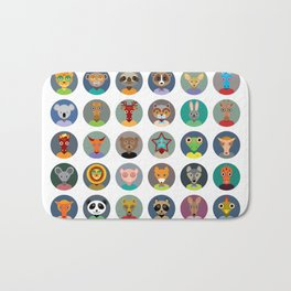 Set of animals faces circle icons set in Trendy Flat Style. zoo Bath Mat