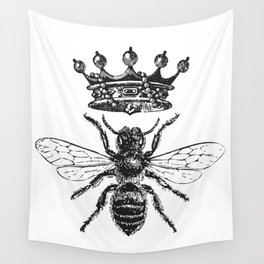 Queen Bee | Black and White Wall Tapestry