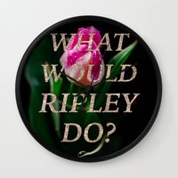 ripley Wall Clocks featuring What Would Ripley Do? by The Alien Movie Project