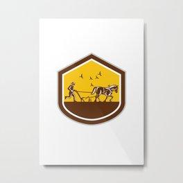 Farmer and Horse Plowing Field Shield Retro Metal Print