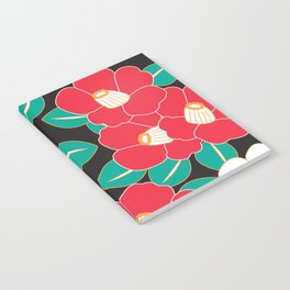 Japanese Style Camellia - Red and Black Notebook