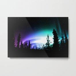 Aurora Borealis Forest Metal Print