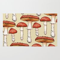 mushrooms Area & Throw Rugs featuring Mushrooms by CHAR ODEN