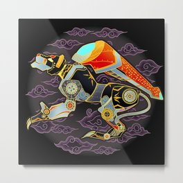 Black Lion Batik Metal Print