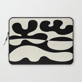 Mid Century Modern Organic Abstraction 235 Black and Linen Laptop Sleeve