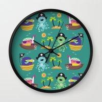 pirates Wall Clocks featuring Pirates by Maria Jose Da Luz