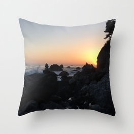 Sunset on a Big Sur Beach with Crashing Waves Throw Pillow