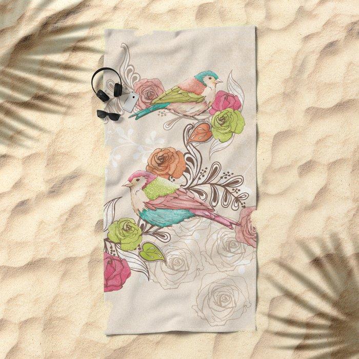 Country Garden Beach Towel