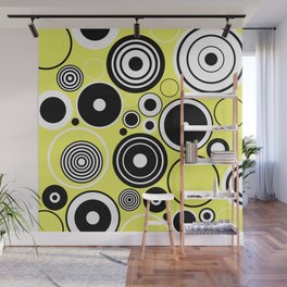 Geometric Rings On Pastel Yellow - Black and white abstract Wall Mural