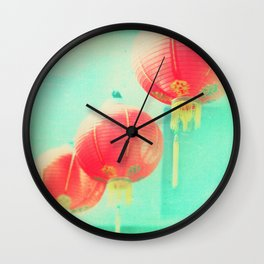 Red Paper Lanterns. Chinatown Los Angeles photograph Wall Clock