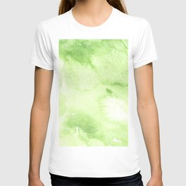 Watercolor abstraction, green background, handmade. T-shirt