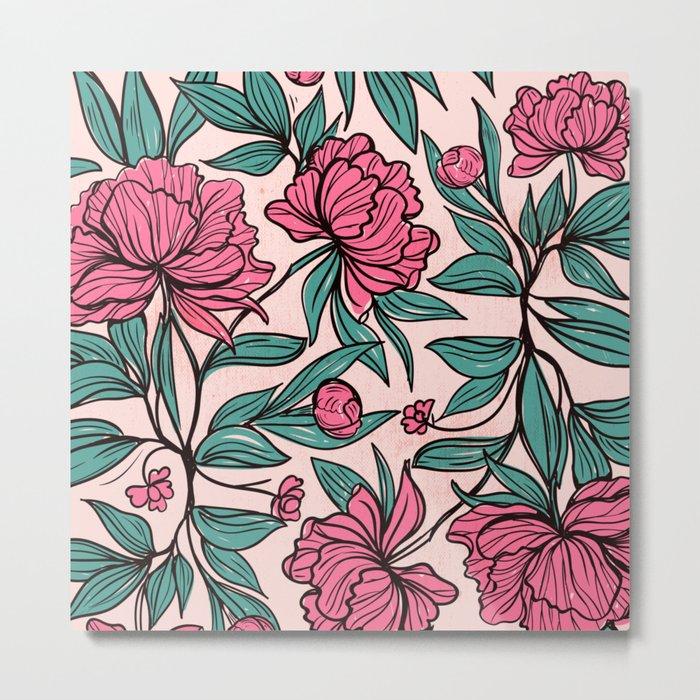 Sketchy Flowers Metal Print