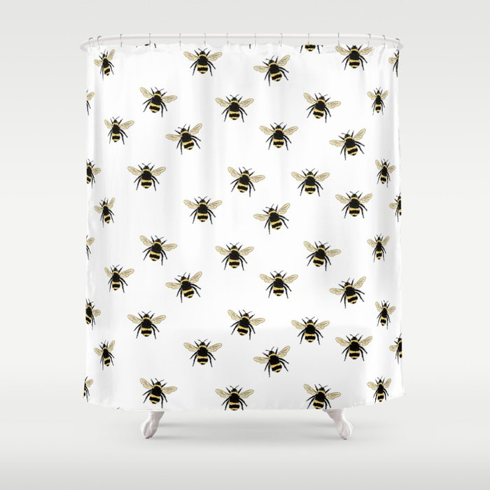 Exceptionnel Bumble Bee Pattern Shower Curtain