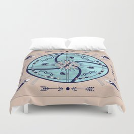 Sheltering Moon Native Symbols Mandala Duvet Cover