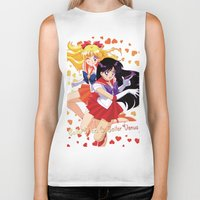 sailor venus Biker Tanks featuring Sailor Mars and Sailor Venus by Neo Crystal Tokyo