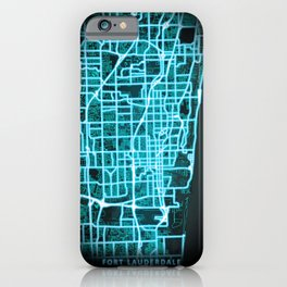 Fort Lauderdale, FL, USA, Blue, White, Neon, Glow, City, Map iPhone Case