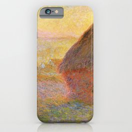 Haystacks, (Sunset) by Claude Monet iPhone Case