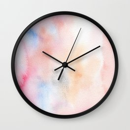 Abstract Watercolor. Pink dawn Wall Clock