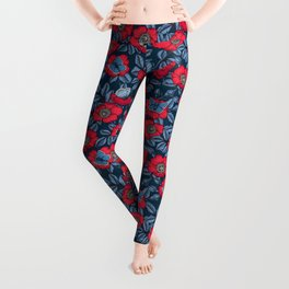 Dog rose and butterflies in red and blu Leggings